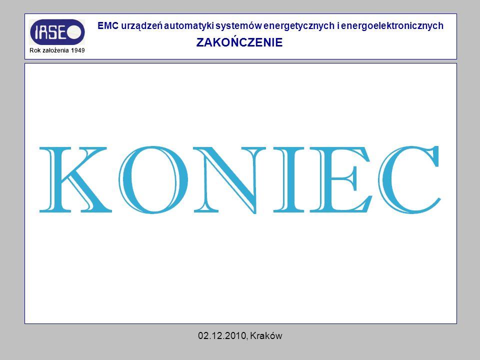 02.12.2010, Kraków Rok założenia 1949 EMC urządzeń automatyki systemów energetycznych i energoelektronicznych ZAKOŃCZENIE