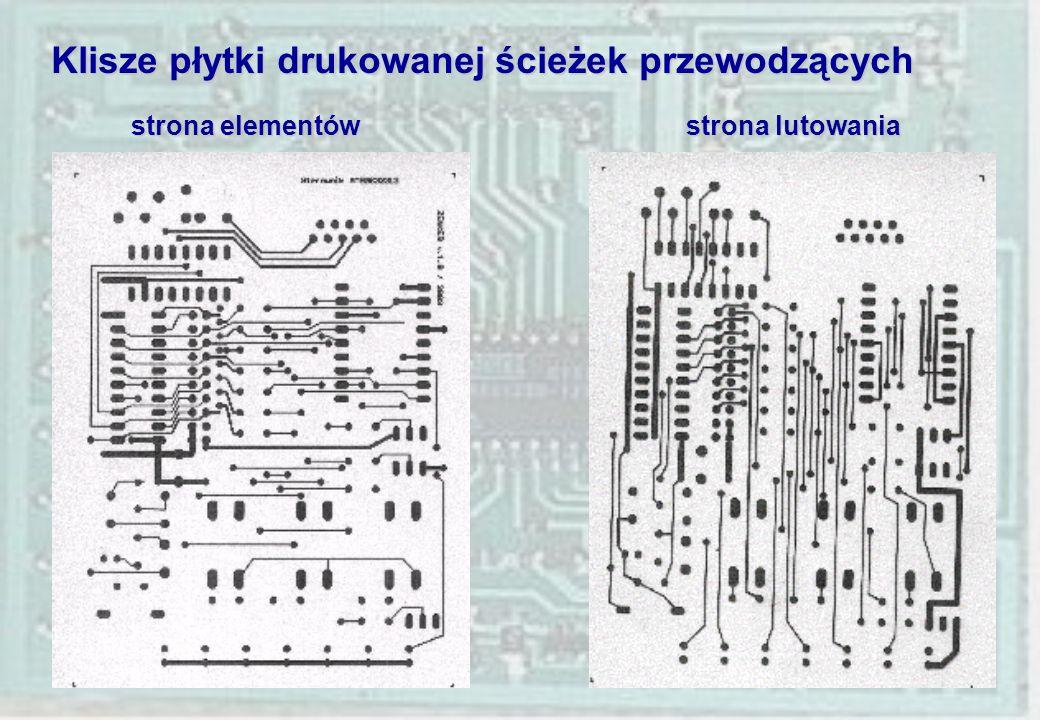 Klisze płytki drukowanej ścieżek przewodzących strona elementów strona lutowania