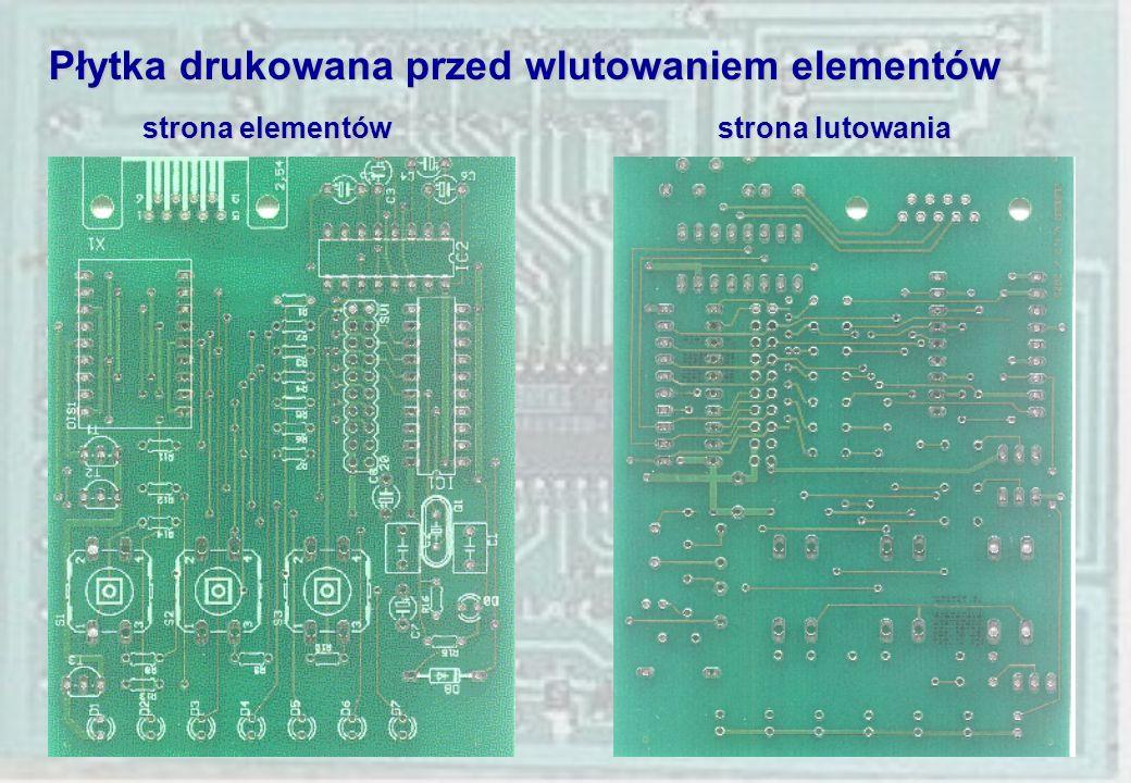 Płytka drukowana przed wlutowaniem elementów strona elementów strona lutowania