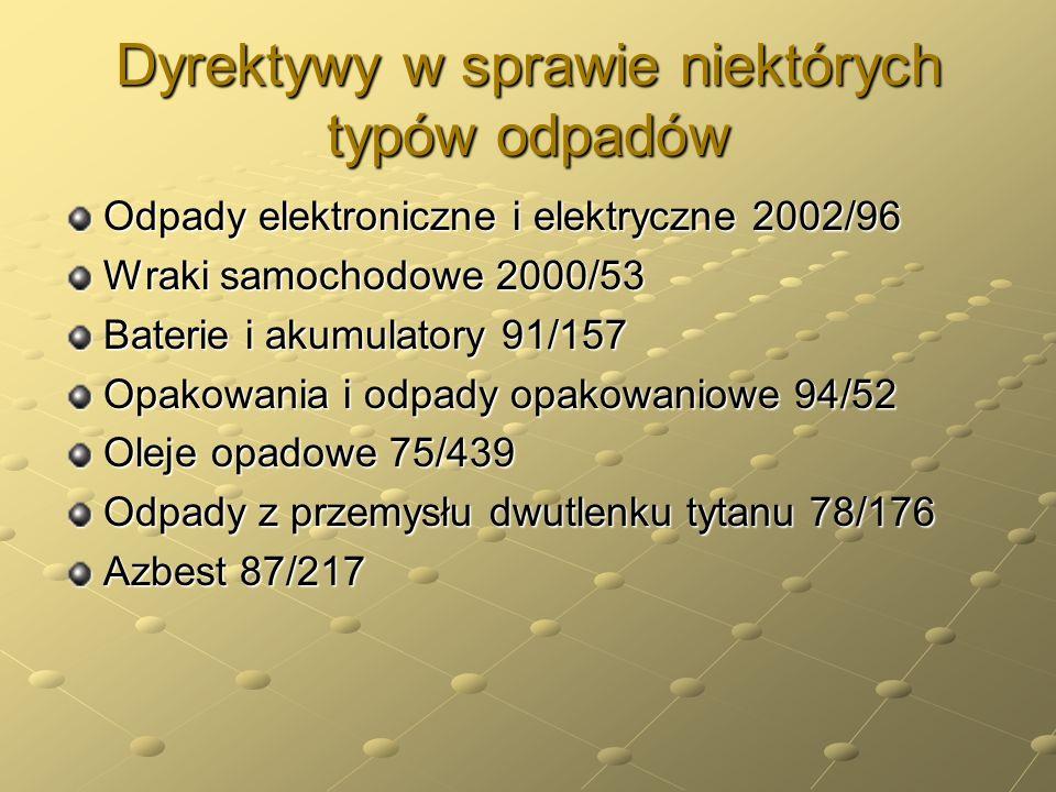 Dyrektywy w sprawie niektórych typów odpadów Odpady elektroniczne i elektryczne 2002/96 Wraki samochodowe 2000/53 Baterie i akumulatory 91/157 Opakowa