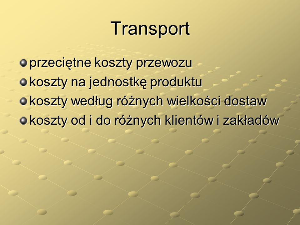 Transport przeciętne koszty przewozu koszty na jednostkę produktu koszty według różnych wielkości dostaw koszty od i do różnych klientów i zakładów