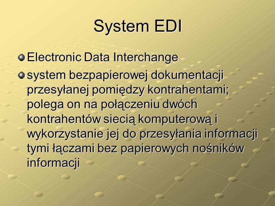 System EDI Electronic Data Interchange system bezpapierowej dokumentacji przesyłanej pomiędzy kontrahentami; polega on na połączeniu dwóch kontrahentó