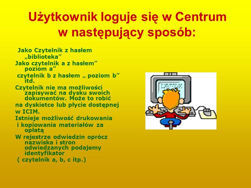 Użytkownik loguje się w Centrum w następujący sposób: Jako Czytelnik z hasłem biblioteka Jako czytelnik a z hasłem poziom a czytelnik b z hasłem pozio