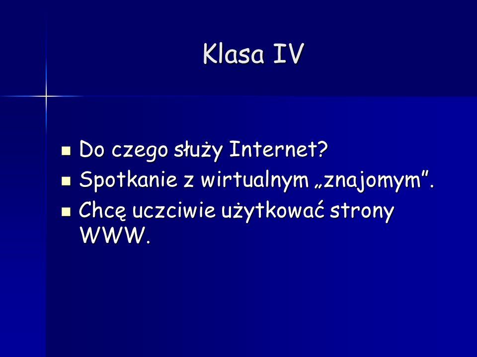 Klasa IV Do czego służy Internet? Do czego służy Internet? Spotkanie z wirtualnym znajomym. Spotkanie z wirtualnym znajomym. Chcę uczciwie użytkować s