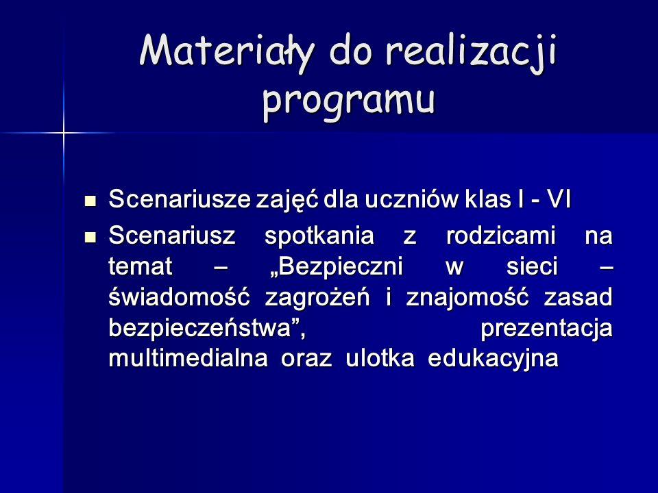 Materiały do realizacji programu Scenariusze zajęć dla uczniów klas I - VI Scenariusze zajęć dla uczniów klas I - VI Scenariusz spotkania z rodzicami