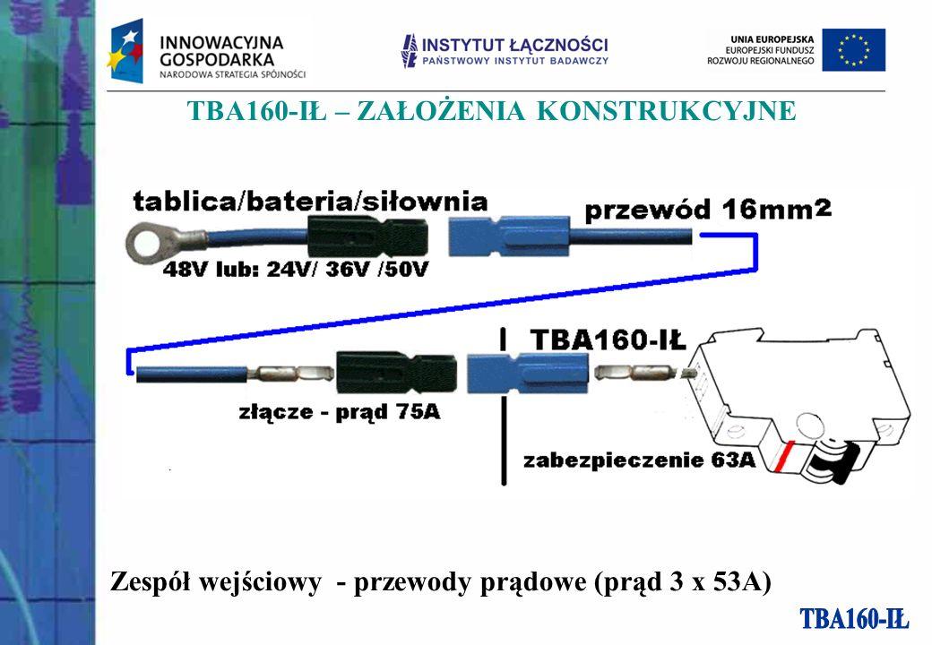 TBA160-IŁ – ZAŁOŻENIA KONSTRUKCYJNE Zespół wejściowy - przewody prądowe (prąd 3 x 53A)