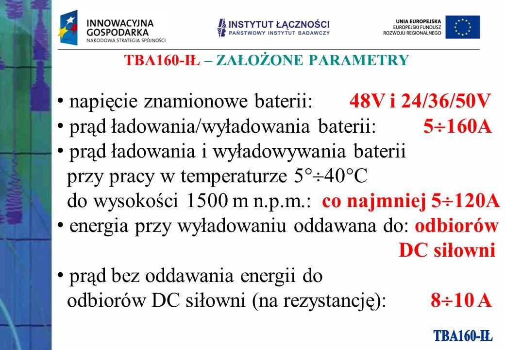 TBA160-IŁ – ZAŁOŻONE PARAMETRY napięcie znamionowe baterii: 48V i 24/36/50V prąd ładowania/wyładowania baterii: 5 160A prąd ładowania i wyładowywania baterii przy pracy w temperaturze 5 40 C do wysokości 1500 m n.p.m.: co najmniej 5 120A energia przy wyładowaniu oddawana do: odbiorów DC siłowni prąd bez oddawania energii do odbiorów DC siłowni (na rezystancję): 8 10 A