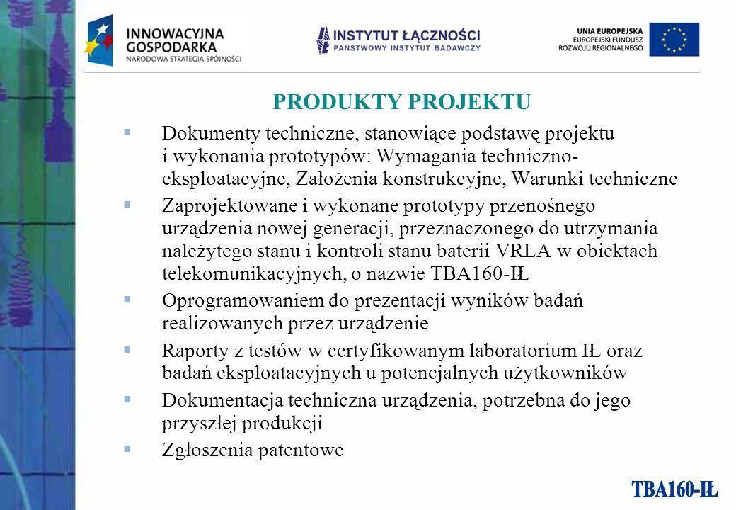 PRODUKTY PROJEKTU Dokumenty techniczne, stanowiące podstawę projektu i wykonania prototypów: Wymagania techniczno- eksploatacyjne, Założenia konstrukc