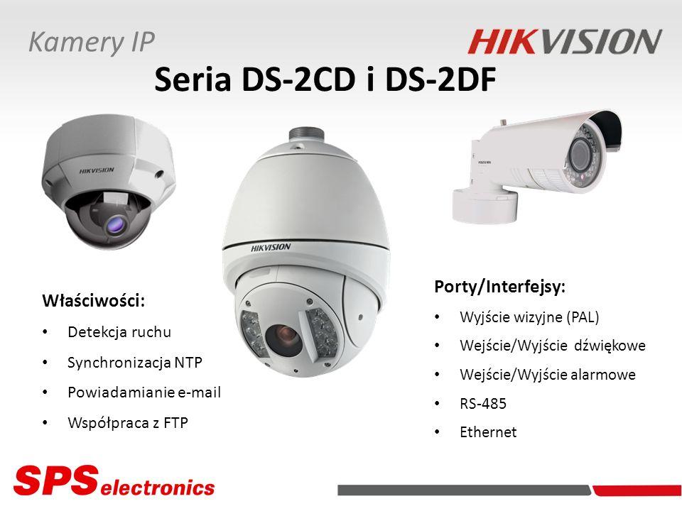 Porty/Interfejsy: Wyjście wizyjne (PAL) Wejście/Wyjście dźwiękowe Wejście/Wyjście alarmowe RS-485 Ethernet Właściwości: Detekcja ruchu Synchronizacja