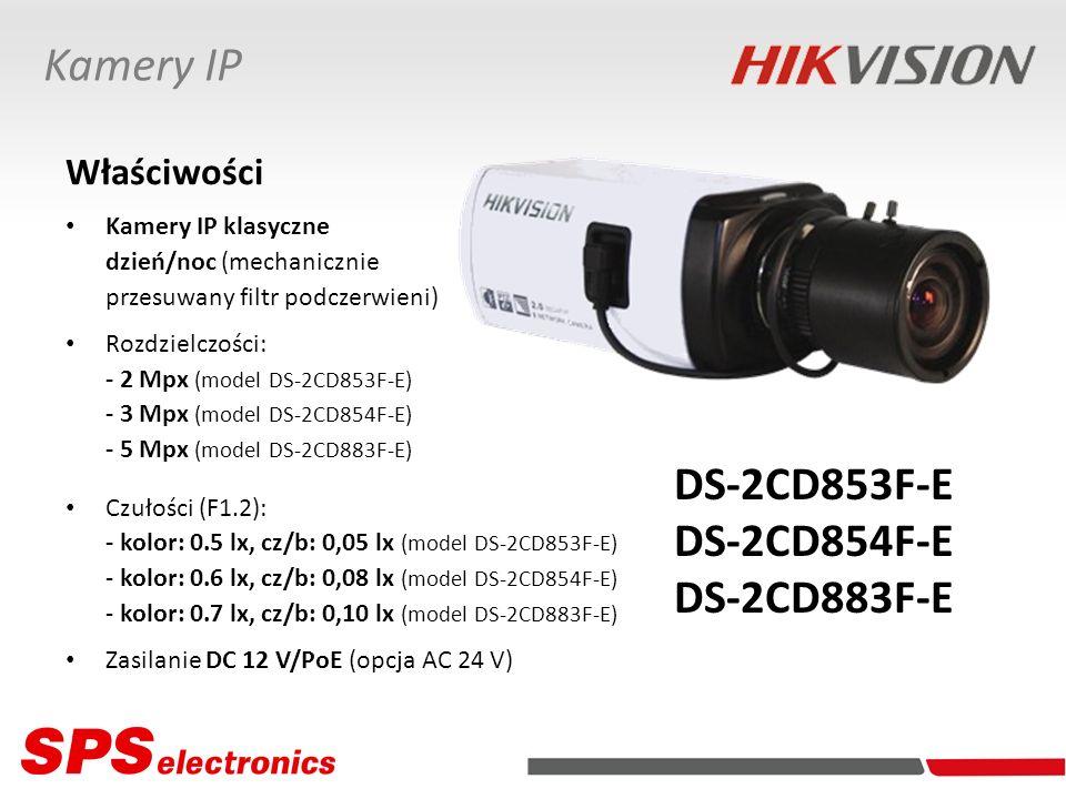Właściwości Kamery IP klasyczne dzień/noc (mechanicznie przesuwany filtr podczerwieni) Rozdzielczości: - 2 Mpx (model DS-2CD853F-E) - 3 Mpx (model DS-