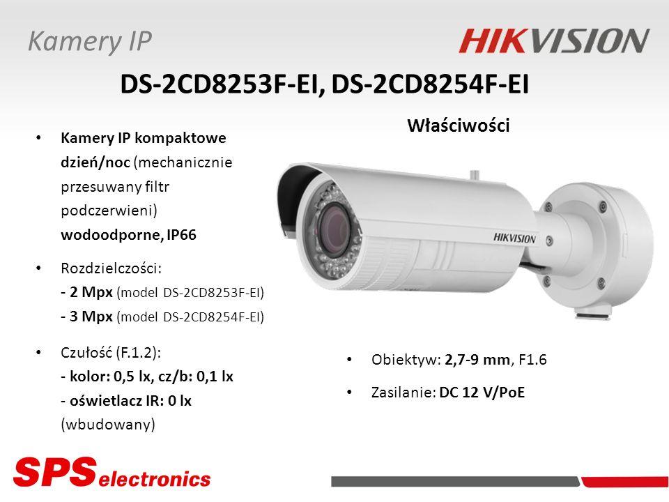 Kamery IP kompaktowe dzień/noc (mechanicznie przesuwany filtr podczerwieni) wodoodporne, IP66 Rozdzielczości: - 2 Mpx (model DS-2CD8253F-EI) - 3 Mpx (