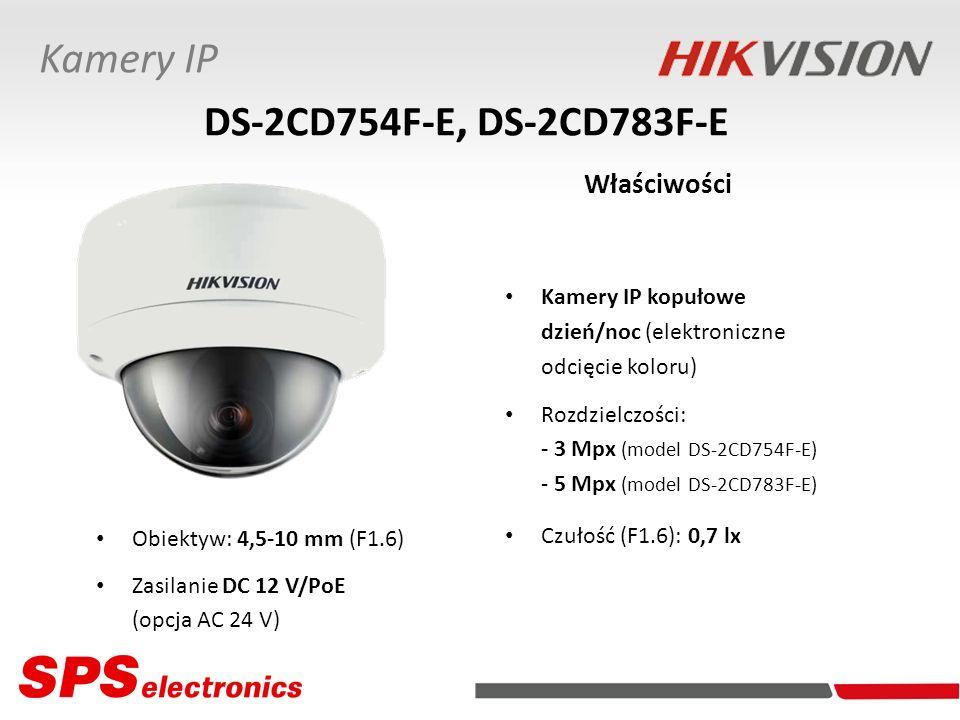Kamery IP kopułowe dzień/noc (elektroniczne odcięcie koloru) Rozdzielczości: - 3 Mpx (model DS-2CD754F-E) - 5 Mpx (model DS-2CD783F-E) Czułość (F1.6):