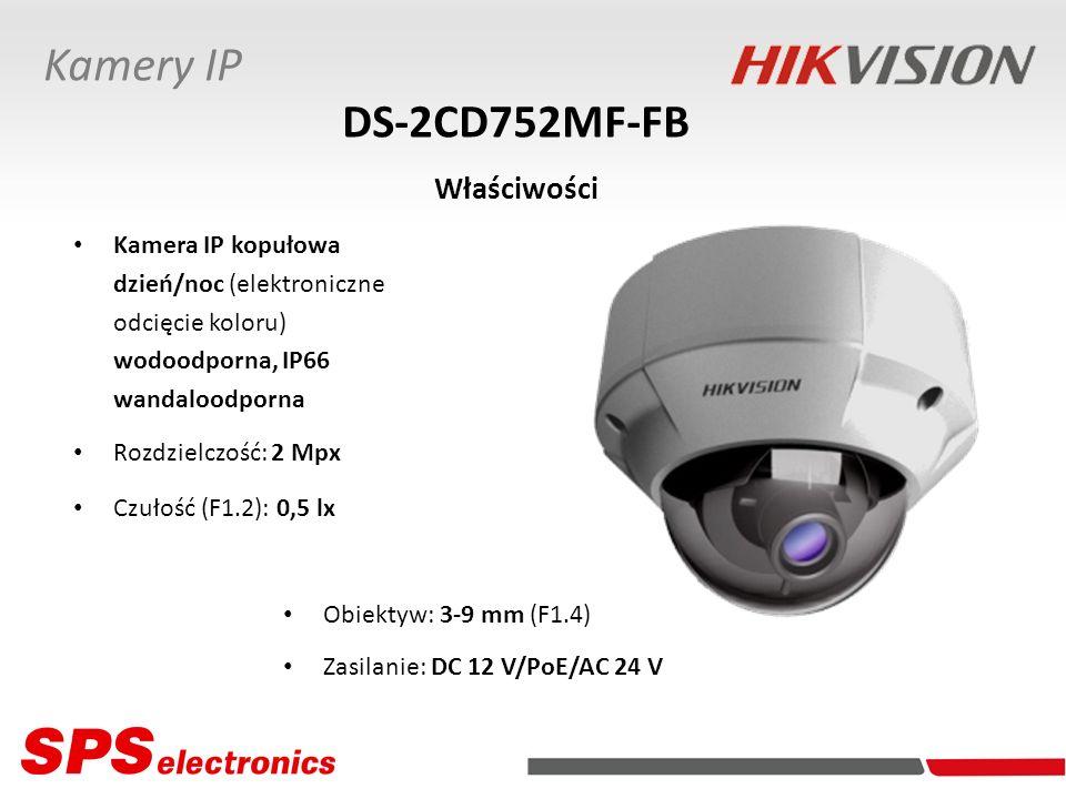 Kamera IP kopułowa dzień/noc (elektroniczne odcięcie koloru) wodoodporna, IP66 wandaloodporna Rozdzielczość: 2 Mpx Czułość (F1.2): 0,5 lx DS-2CD752MF-