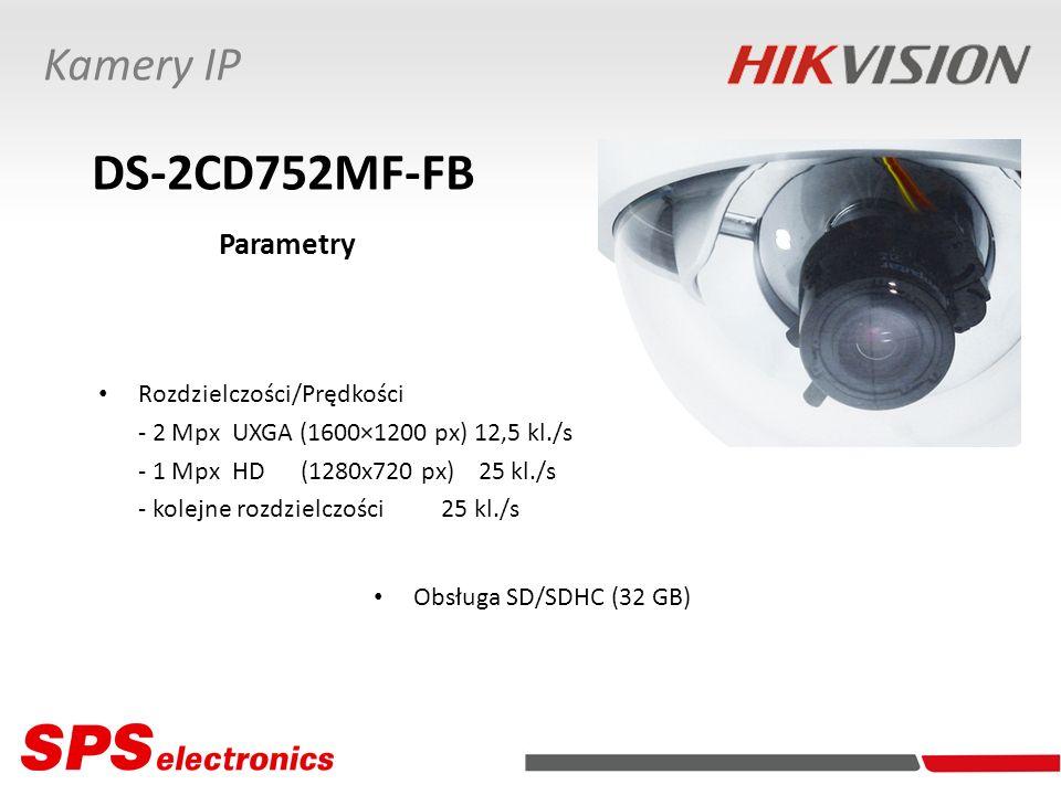 Rozdzielczości/Prędkości - 2 Mpx UXGA (1600×1200 px) 12,5 kl./s - 1 Mpx HD (1280x720 px) 25 kl./s - kolejne rozdzielczości 25 kl./s Kamery IP DS-2CD75