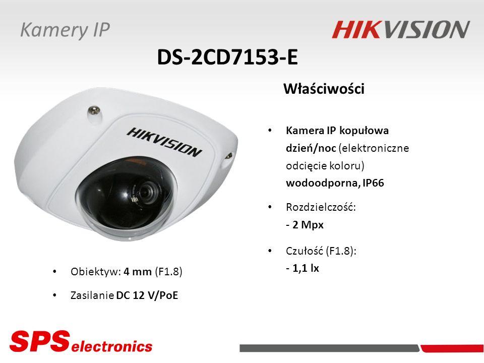 Kamera IP kopułowa dzień/noc (elektroniczne odcięcie koloru) wodoodporna, IP66 Rozdzielczość: - 2 Mpx Czułość (F1.8): - 1,1 lx DS-2CD7153-E Właściwośc