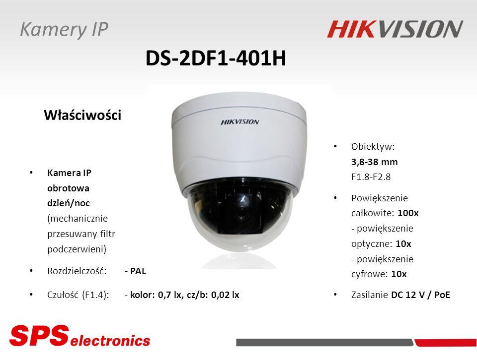Kamera IP obrotowa dzień/noc (mechanicznie przesuwany filtr podczerwieni) Rozdzielczość:- PAL Czułość (F1.4):- kolor: 0,7 lx, cz/b: 0,02 lx DS-2DF1-40