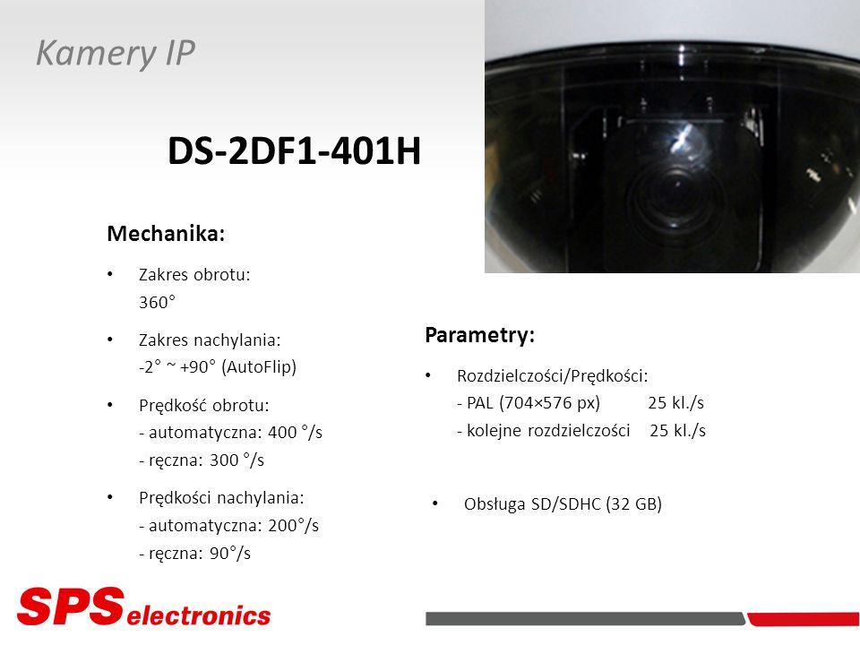 Parametry: Rozdzielczości/Prędkości: - PAL (704×576 px) 25 kl./s - kolejne rozdzielczości 25 kl./s Kamery IP DS-2DF1-401H Obsługa SD/SDHC (32 GB) Mech