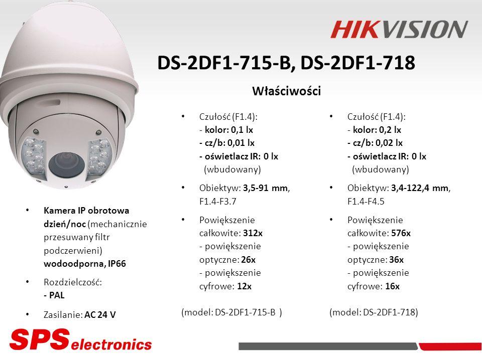 Kamera IP obrotowa dzień/noc (mechanicznie przesuwany filtr podczerwieni) wodoodporna, IP66 Rozdzielczość: - PAL Zasilanie: AC 24 V DS-2DF1-715-B, DS-