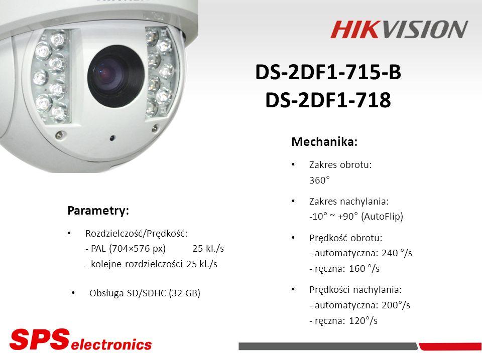 Parametry: Rozdzielczość/Prędkość: - PAL (704×576 px) 25 kl./s - kolejne rozdzielczości 25 kl./s Kamery IP DS-2DF1-715-B DS-2DF1-718 Obsługa SD/SDHC (