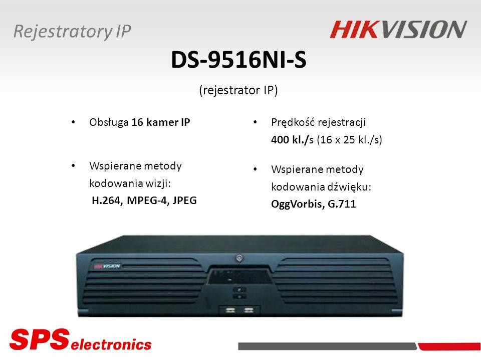 DS-9516NI-S (rejestrator IP) Obsługa 16 kamer IP Wspierane metody kodowania wizji: H.264, MPEG-4, JPEG Rejestratory IP Wspierane metody kodowania dźwi