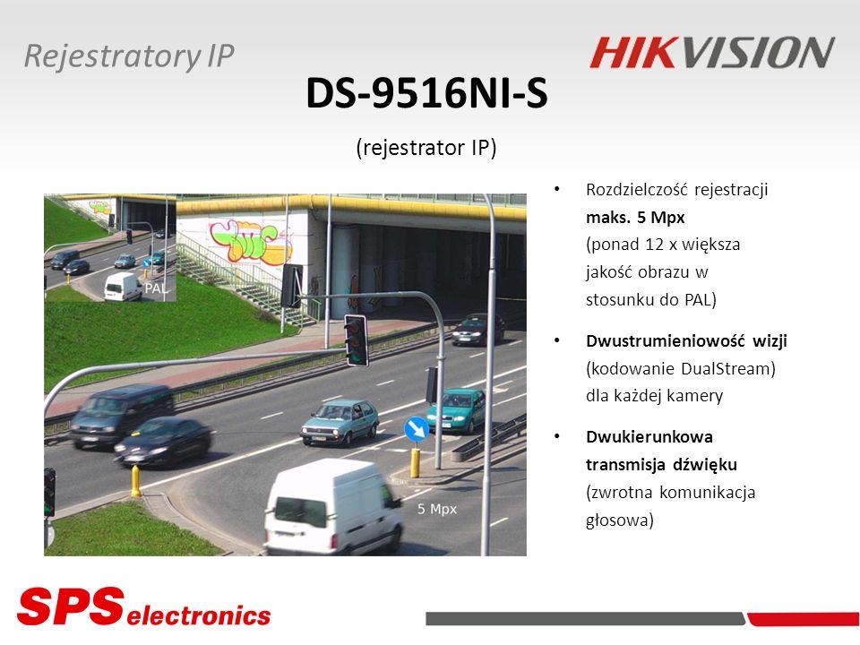 DS-9516NI-S (rejestrator IP) Rozdzielczość rejestracji maks. 5 Mpx (ponad 12 x większa jakość obrazu w stosunku do PAL) Dwustrumieniowość wizji (kodow