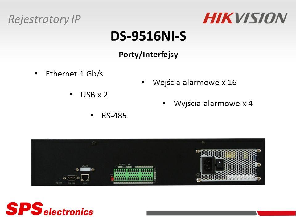 Ethernet 1 Gb/s DS-9516NI-S Porty/Interfejsy Rejestratory IP Wyjścia alarmowe x 4 USB x 2 RS-485 Wejścia alarmowe x 16