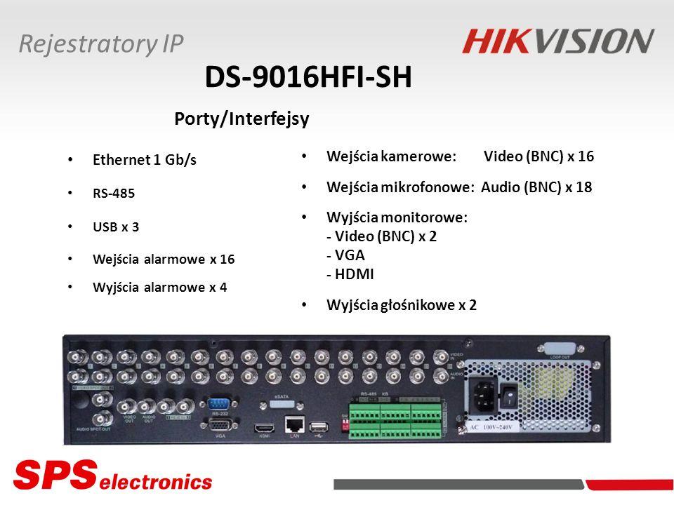 Ethernet 1 Gb/s RS-485 USB x 3 Wejścia alarmowe x 16 Wyjścia alarmowe x 4 DS-9016HFI-SH Porty/Interfejsy Rejestratory IP Wejścia kamerowe: Video (BNC)