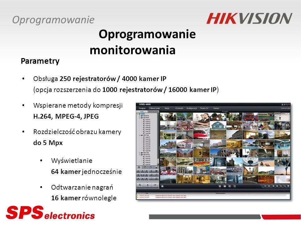 Obsługa 250 rejestratorów / 4000 kamer IP (opcja rozszerzenia do 1000 rejestratorów / 16000 kamer IP) Wspierane metody kompresji H.264, MPEG-4, JPEG R
