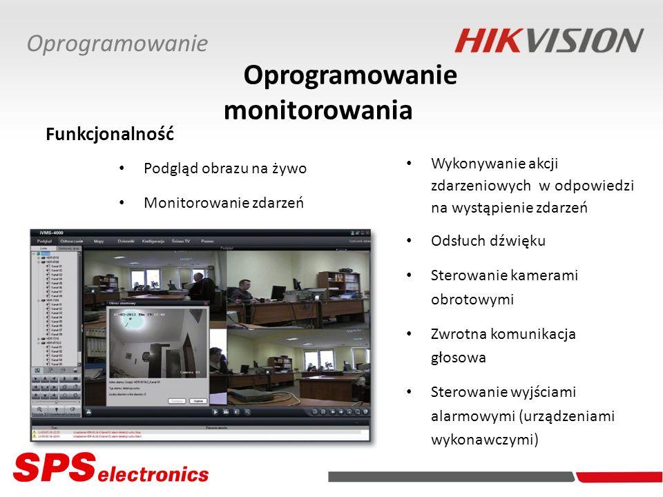 Oprogramowanie monitorowania Wykonywanie akcji zdarzeniowych w odpowiedzi na wystąpienie zdarzeń Odsłuch dźwięku Sterowanie kamerami obrotowymi Zwrotn