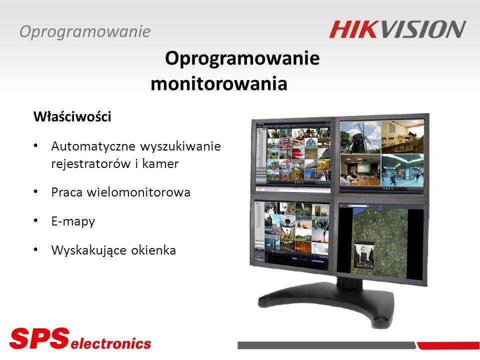 Właściwości Automatyczne wyszukiwanie rejestratorów i kamer Praca wielomonitorowa E-mapy Wyskakujące okienka Oprogramowanie Oprogramowanie monitorowan