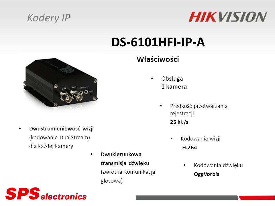 Kodery IP DS-6101HFI-IP-A Właściwości Obsługa 1 kamera Kodowania dźwięku OggVorbis Prędkość przetwarzania rejestracji 25 kl./s Dwustrumieniowość wizji