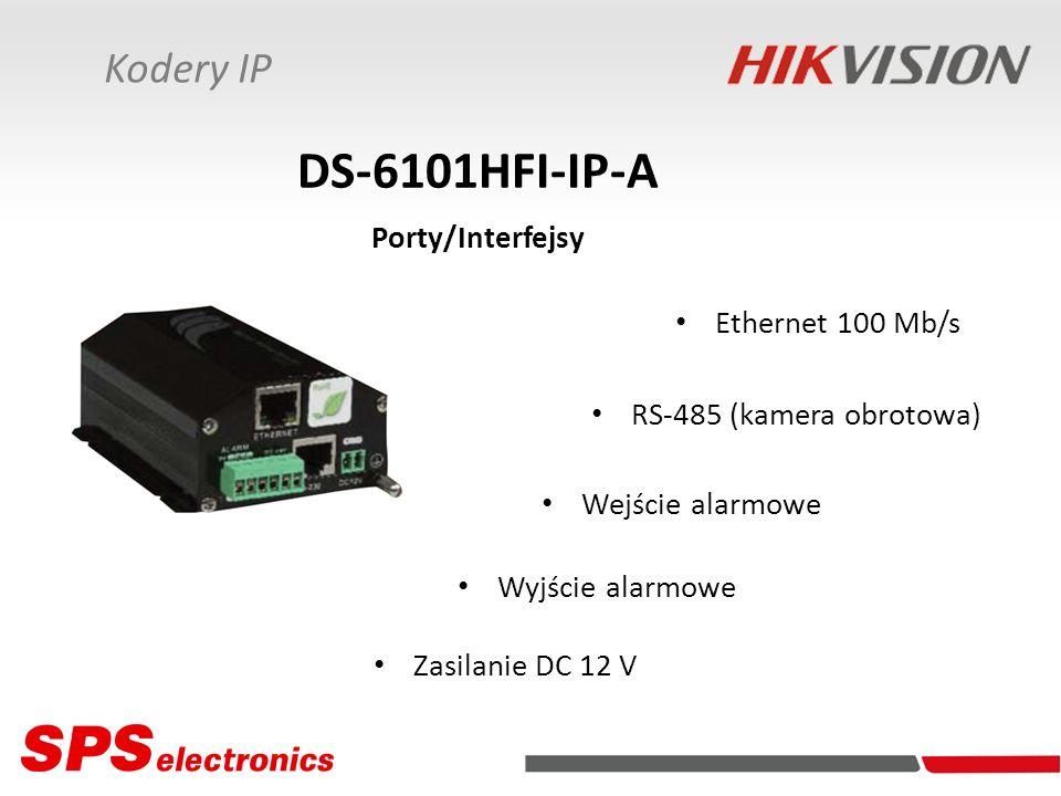 Ethernet 100 Mb/s RS-485 (kamera obrotowa) Wejście alarmowe Wyjście alarmowe DS-6101HFI-IP-A Porty/Interfejsy Zasilanie DC 12 V Kodery IP