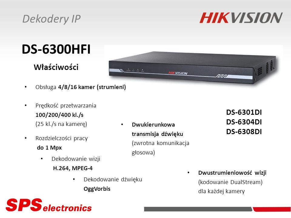 Dekodery IP DS-6300HFI Właściwości Obsługa 4/8/16 kamer (strumieni) Dekodowanie wizji H.264, MPEG-4 Prędkość przetwarzania 100/200/400 kl./s (25 kl./s