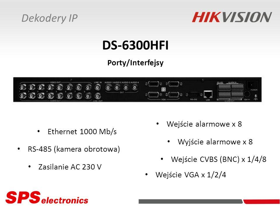 Dekodery IP DS-6300HFI Porty/Interfejsy Ethernet 1000 Mb/s RS-485 (kamera obrotowa) Wejście alarmowe x 8 Wyjście alarmowe x 8 Zasilanie AC 230 V Wejśc