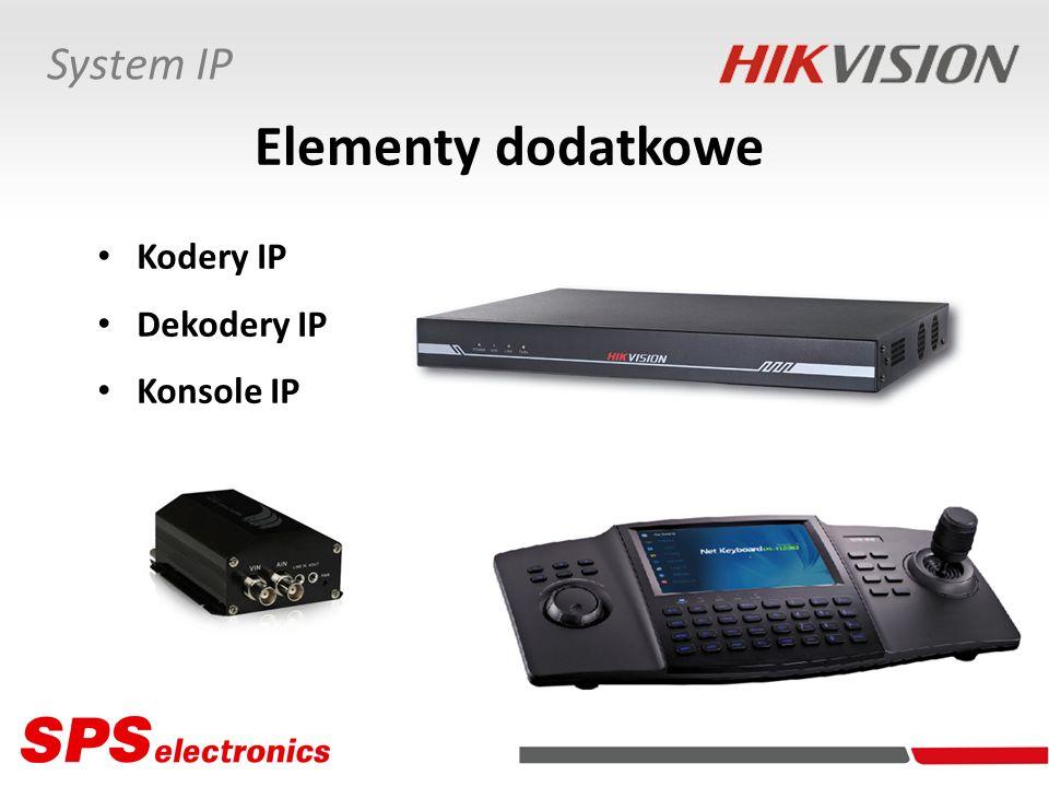 Dekodery IP DS-6300HFI Właściwości Obsługa 4/8/16 kamer (strumieni) Dekodowanie wizji H.264, MPEG-4 Prędkość przetwarzania 100/200/400 kl./s (25 kl./s na kamerę) Dwustrumieniowość wizji (kodowanie DualStream) dla każdej kamery Dwukierunkowa transmisja dźwięku (zwrotna komunikacja głosowa) Dekodowanie dźwięku OggVorbis DS-6301DI DS-6304DI DS-6308DI Rozdzielczości pracy do 1 Mpx
