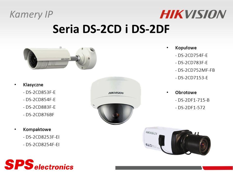 Kamery IP Seria DS-2CD i DS-2DF Rozdzielczości: - 5 Mpx - 3 Mpx - 2 Mpx - 1,5 Mpx - 1,3 Mpx - 1 Mpx Kodowanie wizji: H.264/JPEG Dwustrumieniowość wizji (DualStream) Kodowanie dźwięku dwukierunkowe: OggVorbis lub G.711