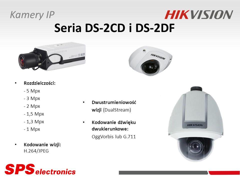 Porty/Interfejsy: Wyjście wizyjne (PAL) Wejście/Wyjście dźwiękowe Wejście/Wyjście alarmowe RS-485 Ethernet Właściwości: Detekcja ruchu Synchronizacja NTP Powiadamianie e-mail Współpraca z FTP Seria DS-2CD i DS-2DF Kamery IP