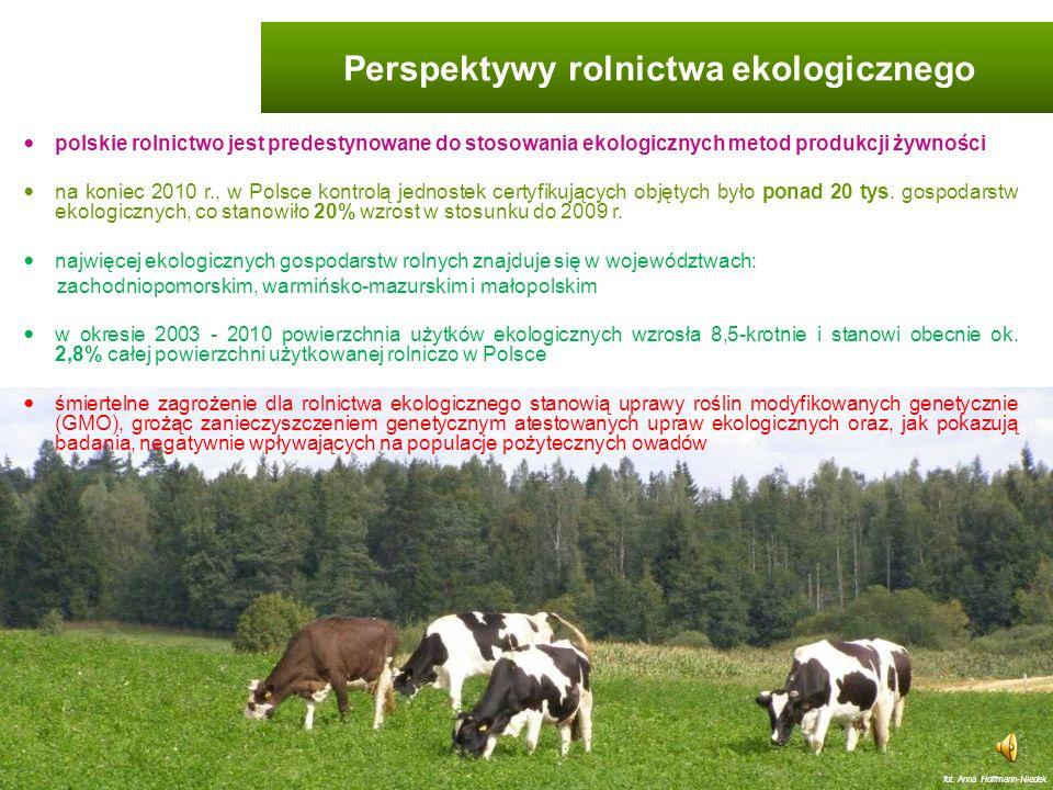 produkcja żywności o wysokiej jakości biologicznej utrzymanie dobrej jakości wód powierzchniowych i gruntowych, gleby i powietrza utrzymanie wysokich