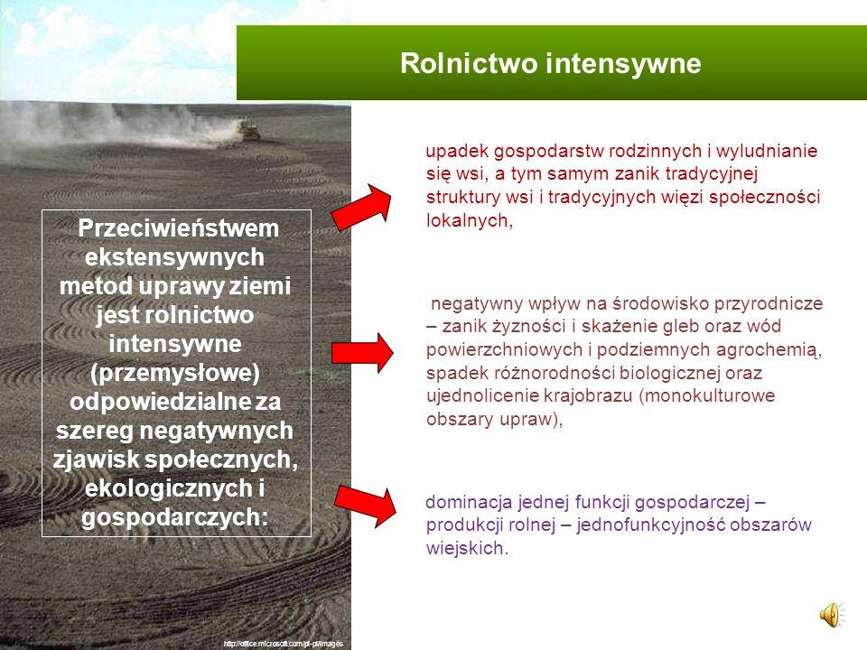 Rolnictwo ekstensywne – to taki sposób gospodarowania, w którym nie stosuje się sztucznych środków wspomagających uprawy. nakłady pracy są wysokie, le