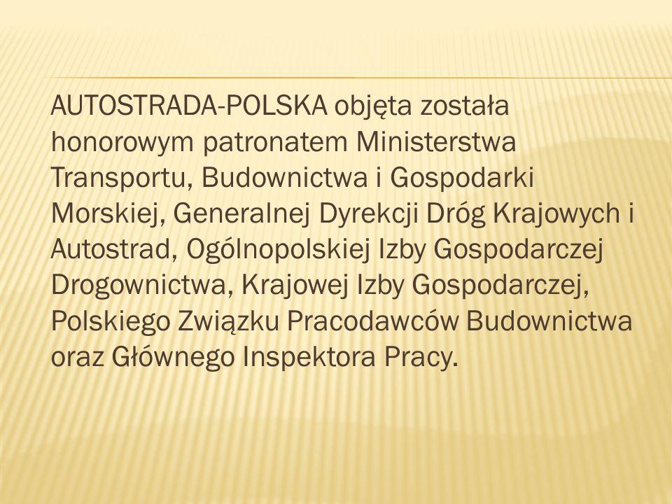 AUTOSTRADA-POLSKA objęta została honorowym patronatem Ministerstwa Transportu, Budownictwa i Gospodarki Morskiej, Generalnej Dyrekcji Dróg Krajowych i