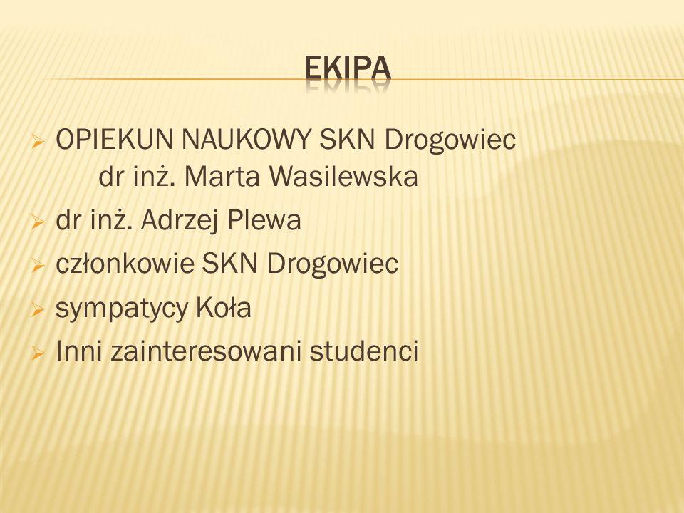 OPIEKUN NAUKOWY SKN Drogowiec dr inż. Marta Wasilewska dr inż. Adrzej Plewa członkowie SKN Drogowiec sympatycy Koła Inni zainteresowani studenci