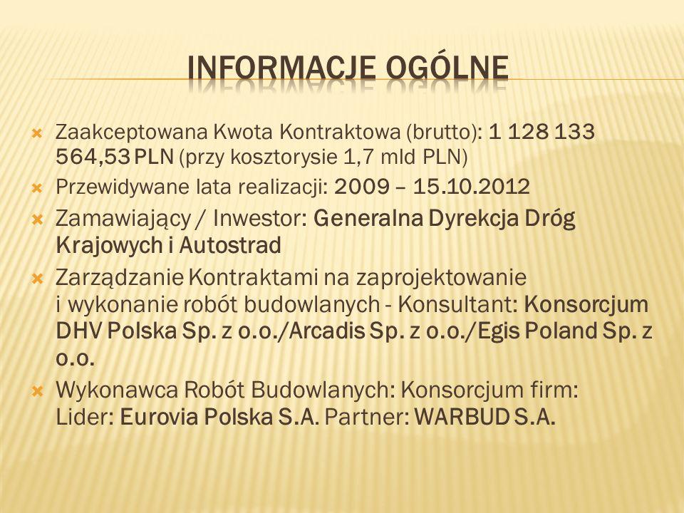 Zaakceptowana Kwota Kontraktowa (brutto): 1 128 133 564,53 PLN (przy kosztorysie 1,7 mld PLN) Przewidywane lata realizacji: 2009 – 15.10.2012 Zamawiaj