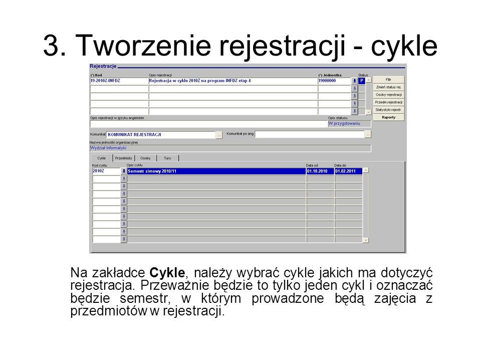 3. Tworzenie rejestracji - cykle Na zakładce Cykle, należy wybrać cykle jakich ma dotyczyć rejestracja. Przeważnie będzie to tylko jeden cykl i oznacz