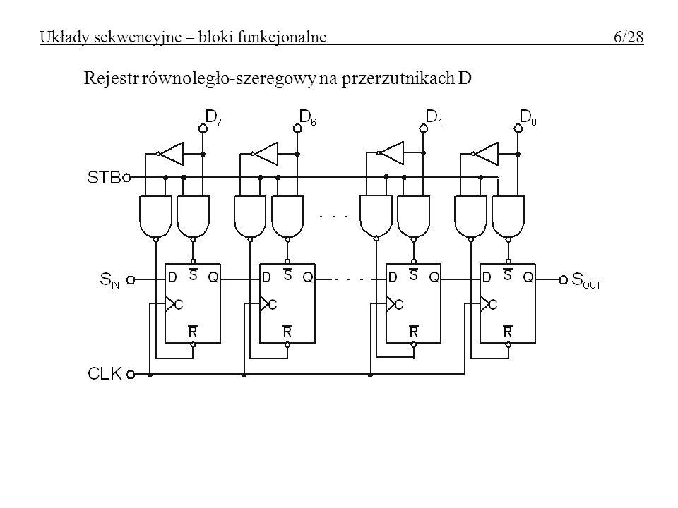 Liczniki o pojemności różnej od 2 N 7493 i przykłady jego użycia modulo 10 modulo 6 modulo 5 Układy sekwencyjne – bloki funkcjonalne 27/28
