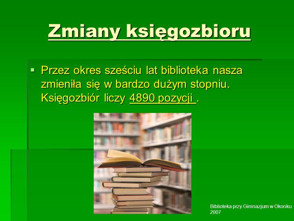 Biblioteka przy Gimnazjum w Okonku 2007 Zmiany księgozbioru Przez okres sześciu lat biblioteka nasza zmieniła się w bardzo dużym stopniu.