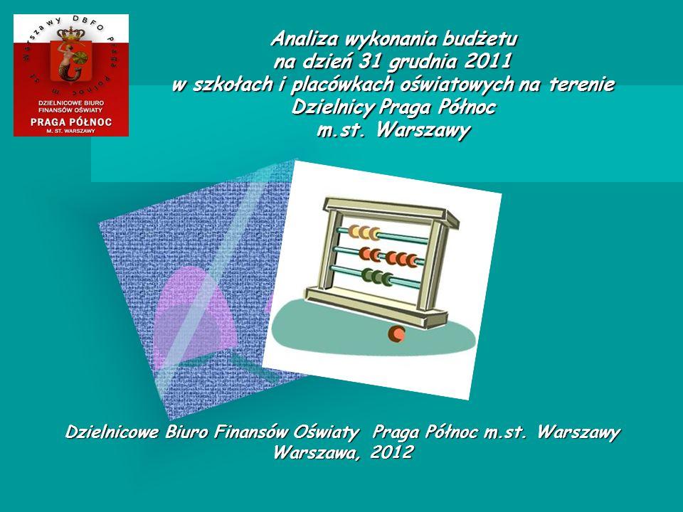 Analiza wykonania budżetu na dzień 31 grudnia 2011 w szkołach i placówkach oświatowych na terenie Dzielnicy Praga Północ m.st.