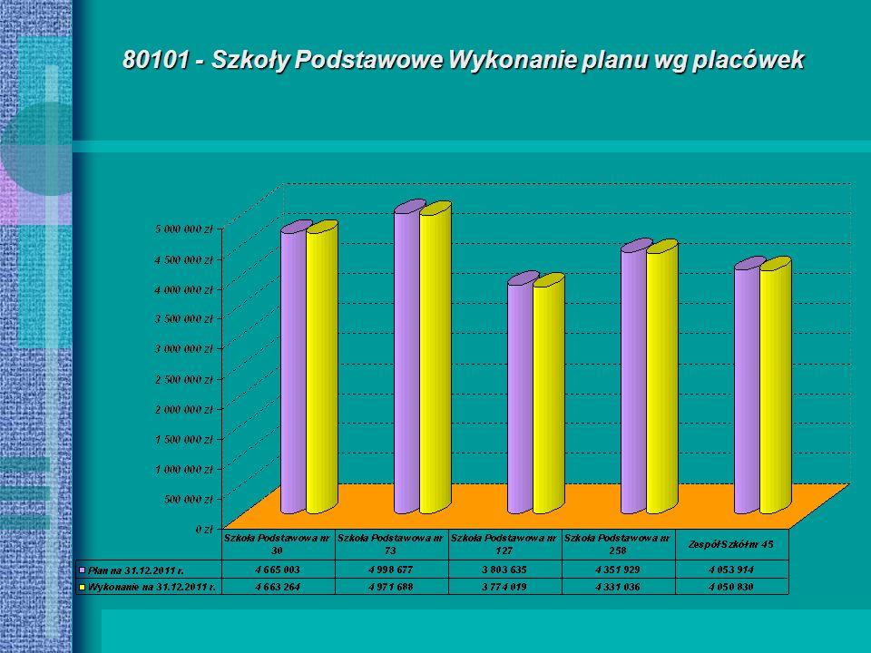 80101 - Szkoły Podstawowe Wykonanie planu wg placówek