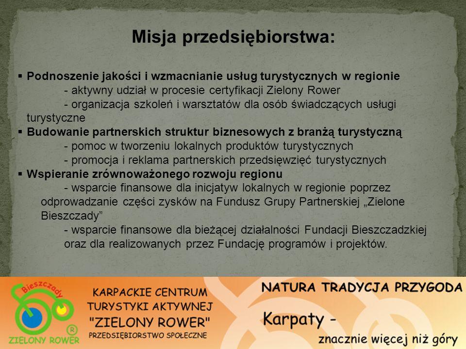 Misja przedsiębiorstwa: Podnoszenie jakości i wzmacnianie usług turystycznych w regionie - aktywny udział w procesie certyfikacji Zielony Rower - orga