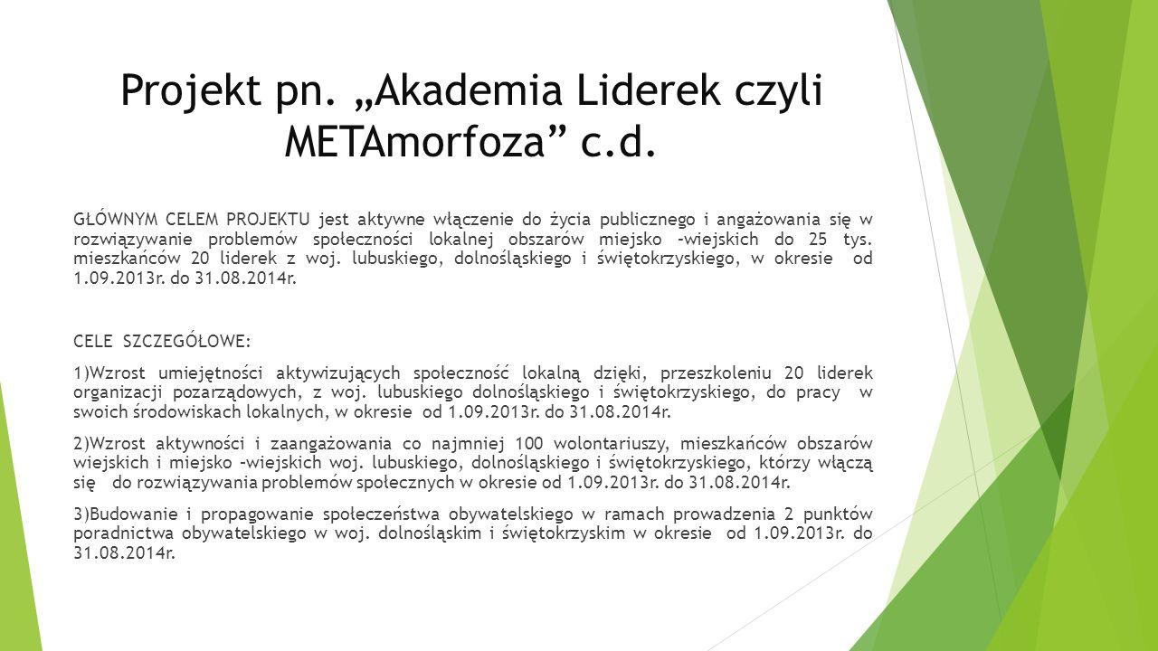 Projekt pn.Akademia Liderek czyli METAmorfoza c.d.