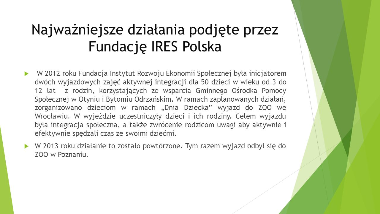 Najważniejsze działania podjęte przez Fundację IRES Polska W 2012 roku Fundacja Instytut Rozwoju Ekonomii Społecznej była inicjatorem dwóch wyjazdowych zajęć aktywnej integracji dla 50 dzieci w wieku od 3 do 12 lat z rodzin, korzystających ze wsparcia Gminnego Ośrodka Pomocy Społecznej w Otyniu i Bytomiu Odrzańskim.
